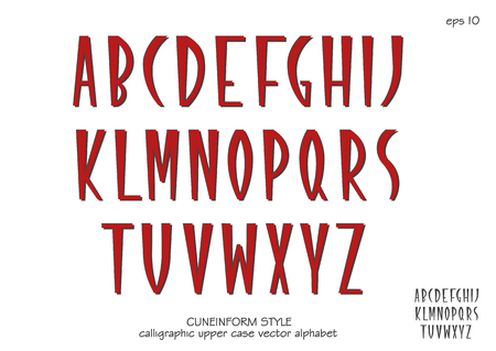 Vector alphabet set. Capital letters in cuneiform style. Red letters on white background. Banque d'images - 114281266