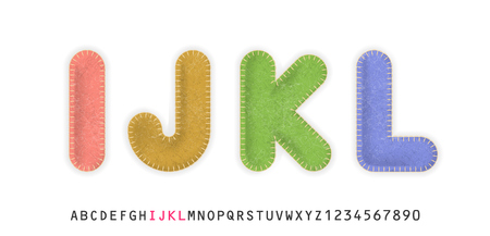 Uppercase realistic letters I, J, K, L made of color felt fabric. For festive cute design. Ilustrace