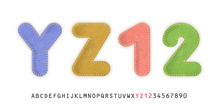 Uppercase realistic letters Y, Z and numbers 1, 2 made of color felt fabric. For festive cute design.