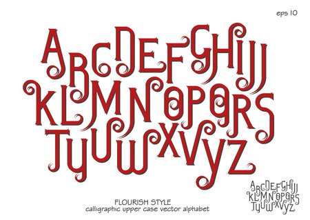 Vector alphabet set. Capital letters with decorative flourishes in the Art Nouveau style. Red letters on a white background.
