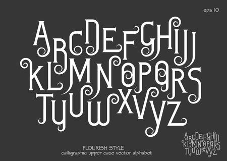 Vector alphabet set. Capital letters with decorative flourishes in the Art Nouveau style. White letters on black background. Ilustração Vetorial