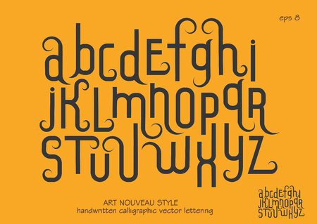 Vector alphabet set. Lowercase letters with decorative flourishes in the Art Nouveau style. Black letters on a yellow background. Vectores