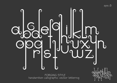 Vector alphabet set. Lowercase letters with decorative flourishes in the Art Nouveau forging style. White letters on black background.