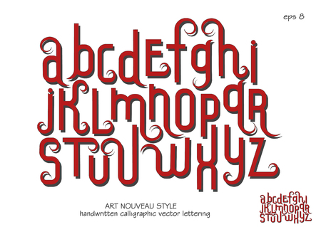 Vector alphabet set. Lowercase letters with decorative flourishes in the Art Nouveau style. Red letters on a white background. Vectores