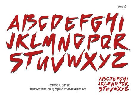 Alphabet vector set of red capital handwritten letters on white background. Handwritten italic font with brush strokes in horror style. Ilustração Vetorial