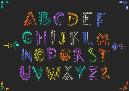 Vector handwritten alphabet in African ethnic style. Uppercase ornamental multicolor letters on a black background. Illustration