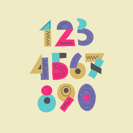 Vector colorful funny trendy set of numbers. Display signs for posters, music placards and ect. Illustration