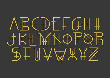 Moderne geometrische Großbuchstabenschrift im mittelalterlichen Stil. Goldene Buchstaben auf schwarzem Hintergrund. Für Musikalbencover, Titel, Poster von historischen Filmen.