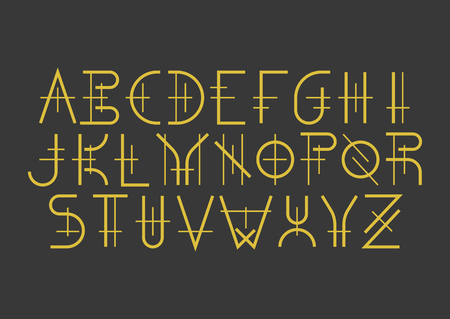 Modern uppercase geometric font in medieval style. Golden letters on black background. For music album covers, titles, posters of historical films.
