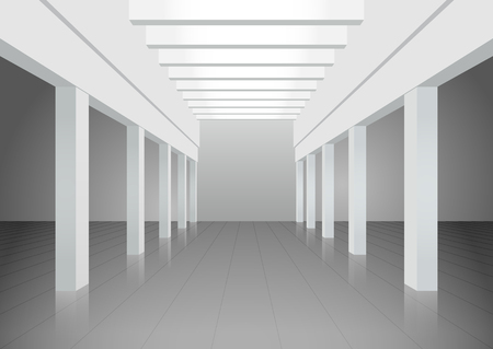 Vector 3d illustration. White interior of of not existing building with columns and beamed ceilings and top light. Symmetrical view.