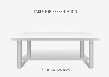 White vector 3d platform, rectangular  table. Template for presentation of goods.
