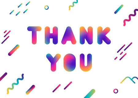 Vector colorful lettering Thank you. Fluid mesh gradient letters and geometric shapes.