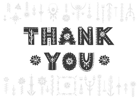 Vector lettering Thank you. Decorative letters in Mexican style.