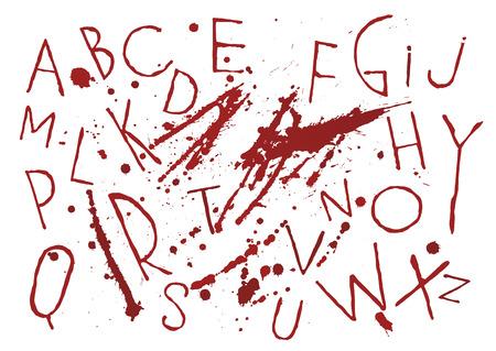 Alphabet de pinceau fin vecteur manuscrit sanglant rouge sur fond blanc avec des taches et des gouttes. Les thèmes de l'horreur, du thriller, de l'halloween, de la vengeance, du meurtre. Vecteurs