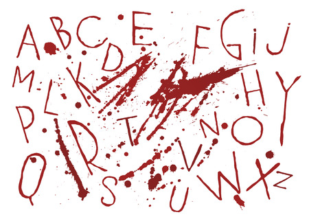 Red bloody capital handwritten vector thin brush alphabet on white background with blots and drops. The themes of horror, thriller, halloween, revenge, murder.