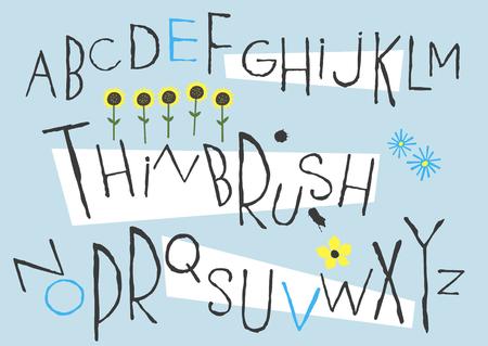 Black capital handwritten vector thin brush alphabet with smudges.