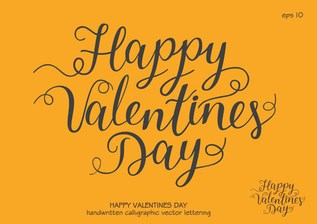 Vector festive handwritten inscription Happy Valentines Day with flourish. Black letters on yellow background.