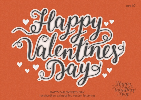 Vector festive handwritten inscription Happy Valentines Day with flourish. Black letters with white outline on red background. Concept for sticker.