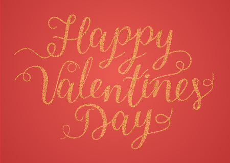Vector festive handwritten inscription Happy Valentines Day. Gold letters of yellow circles on a red background. Illustration