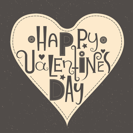 Vector Font composition Happy Valentines Day. Black background with heart stitches. Concept for sticker, t-shirt and card.