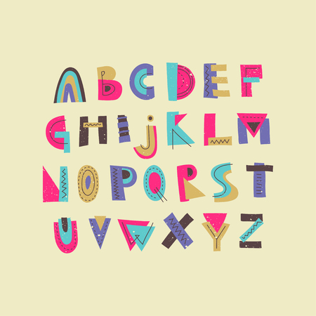 Vector colorful funny trendy uppercase alphabet. Display font for posters, music placards and ect. Illustration
