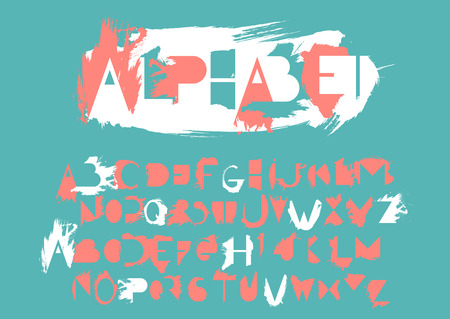 Vector alphabet set of capital letters and its counter forms with smears of semi-dry brush. For logo design, typefaces compositions and lettering. Illustration