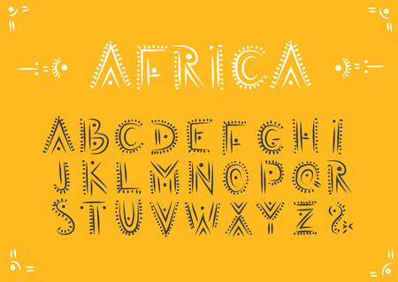 Vector handwritten alphabet in African ethnic style. Uppercase ornamental black letters on a yellow background. Illustration