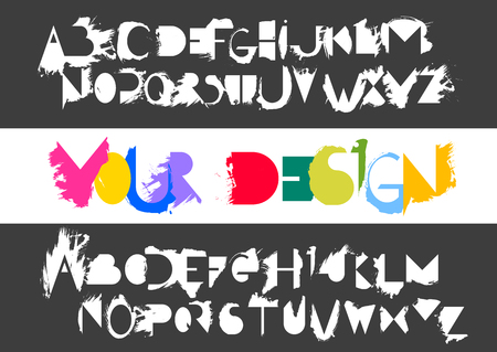 Vector alphabet set of capital white letters and its counter forms with smears of semi-dry brush on black background. For logo design, typefaces compositions and lettering.
