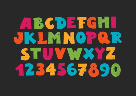 Vector uppercase colorful modern alphabet with numbers. Funny font on black background.