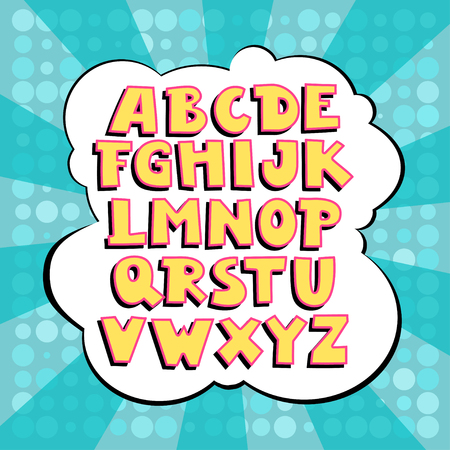 Uppercase vector alphabet with strokes and shadows in comics style. Illustration