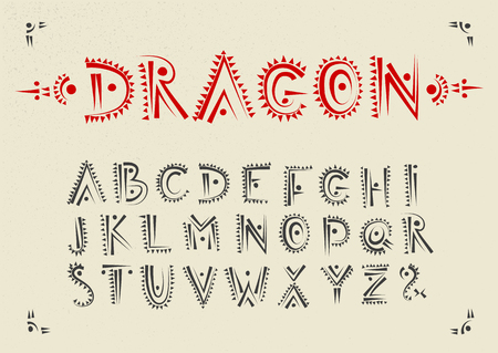 Vector handwritten alphabet with dragon patterns. Uppercase ornamental black font. Ilustração