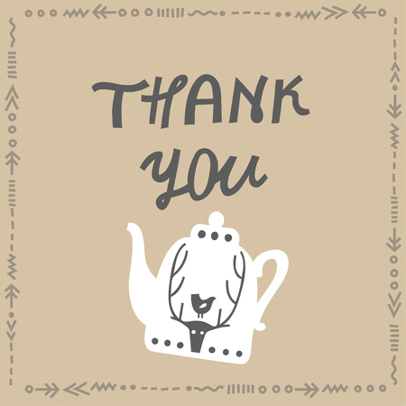 Vector lettering Thank you and white teapot with a deer. Concept for card square card.