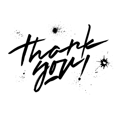 Vector black lettering Thank you. Handwritten letters and blots.