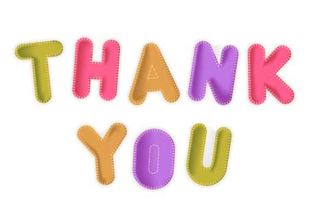 Vector toy letters Thank you made of colored fabric. Illustration