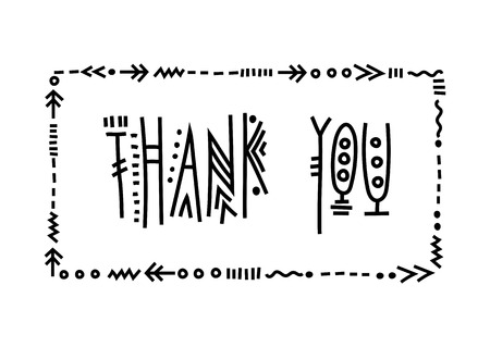 Vector lettering Thank you. Handwritten ethnic letters in frame. Illustration