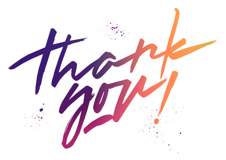 Vector colorful lettering Thank you. Fluid mesh gradient handwritten letters and blots.