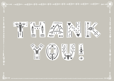 Vector lettering Thank you. Decorative letters in Scandinavian style on a gray background.