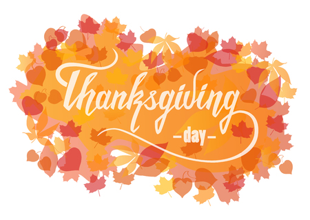 Font vector composition Thanksgiving Day. Calligraphic handwritten white lettering on orange background with autumn leaves. Illustration