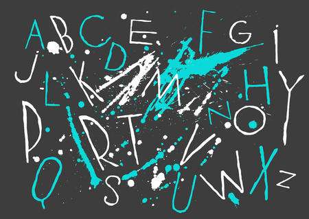 White and blue capital handwritten vector thin brush alphabet on black background with blots and drops.
