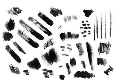 Collection of black gouache and acrylic smears.