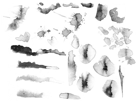 Collection of watercolor stains of different shapes.
