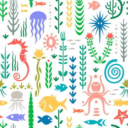 Seamless pattern with underwater plants and animals. Concept for nursery prints, textile, wallpapers