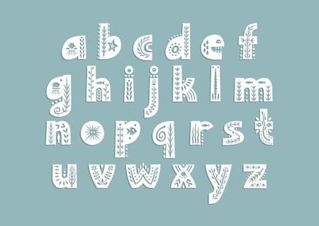 Vector lowercase alphabet decorated with underwater patterns. Illusztráció