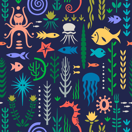Seamless pattern with underwater plants and animals on a dark blue background. Concept for nursery prints, textile, wallpapers. Illusztráció