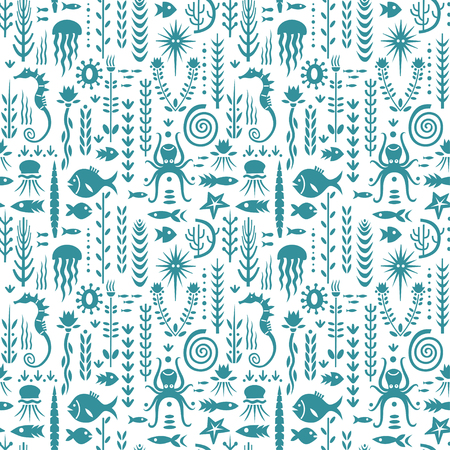 Seamless monochrome pattern with underwater plants and animals. Concept for nursery prints, textile, wallpapers.