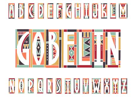 Vector trendy alphabet made of cutout geometric colored shapes. Illusztráció