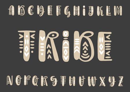 Vector brush pen handwritten capital alphabet  decorated with boho ornaments on a black background. Illusztráció
