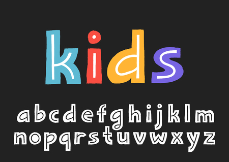 Vector lowercase display alphabet with textured border and the line inside the letters.