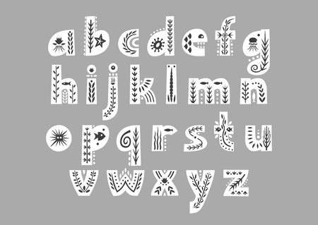 Vector white lowercase alphabet decorated with undersea black patterns.