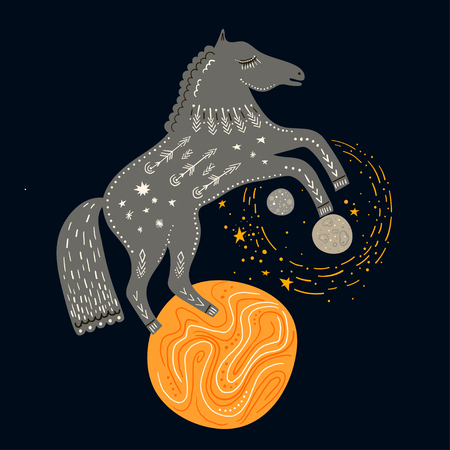 Vector childish hand-drawn illustration. Horse rearing up on the planet in space.